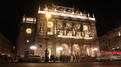 Timelapse of opera house and street in Budapest Stock Footage