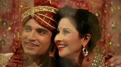 Shot of a smiling Indian newlywed couple Stock Footage