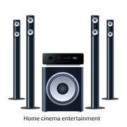 home cinema speker system - stock illustration