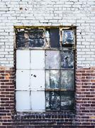 gritty warehouse window - stock photo