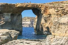 Azure Window at Dwejra Bay, Malta Stock Photos