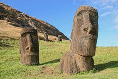 Moai at Rano Raraku, Easter Island Stock Photos