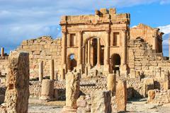 Roman ruins of Sufetula, Tunisia - stock photo
