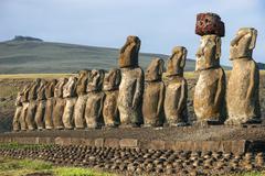 Moai statues at Ahu Tongariki on Easter Island - stock photo