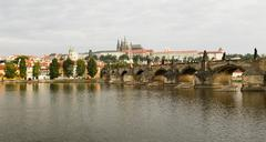 prague river and city panorama - stock photo