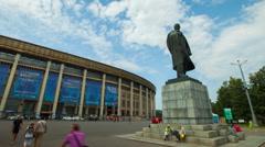 Lenin monument near the Moscow stadium Luzhniki. Stock Footage