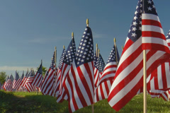 Large display of small American flags against blue sky - stock footage
