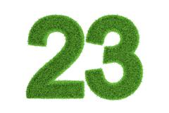 Number 23 with a green grass texture Stock Illustration