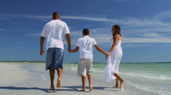 Happy African American Family Outdoors Beach - stock footage
