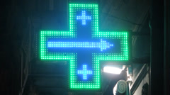 Italian pharmacy blinking sign Stock Footage