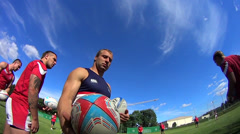 Player keeps rugby balls Stock Footage
