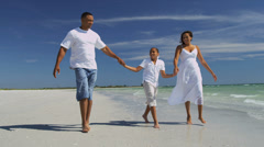 Healthy Young Ethnic Family Walking Beach Vacation Stock Footage