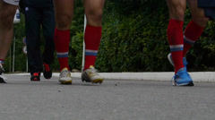 Feet of going rugby players Stock Footage