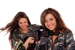 two armed girls - stock photo