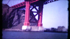 390 - the golden gate bridge filmed from fishing boat - vintage film home movie Stock Footage