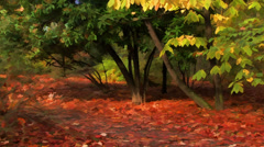Autumn landscape in a park - cartoon style - stock footage