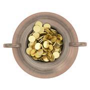 Golden treasure in bronze pot Stock Illustration