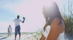 Ethnic Mom Beach Vacation Husband Son Background Stock Footage