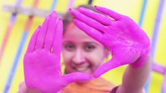 Shot of a woman posing during Holi festival Stock Footage