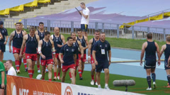 Russia men Rugby 7 team Stock Footage