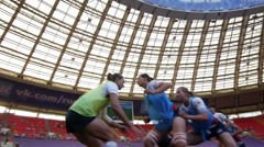 Rugby Women Team of Russia warms up Stock Footage