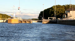 Pulling away from Lock and Dam #3 Stock Footage