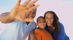 Young African American Family Photo Messaging Outdoors Stock Footage