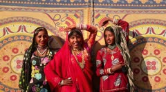 Locked-on shot of Traditional Rajasthani women singing Stock Footage