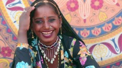 Pan shot of a Traditional Rajasthani woman smiling Stock Footage