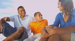 Portrait Healthy African American Family Outdoors - stock footage