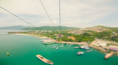 View from a moving cable car, Vinpearl, Vietnam. Stock Footage