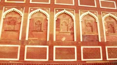 Pan shot of architectural detail of Agra Fort - stock footage
