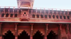 Pan shot of architectural detail of Agra Fort Stock Footage