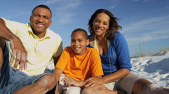 Young Smiling African American Family Outdoors Portrait Stock Footage