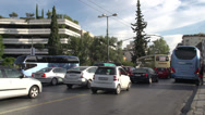 Stock Video Footage of Athens traffic, busy crowded street, reverse angle