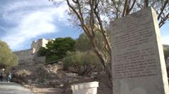 Signage base of Acropolis Stock Footage