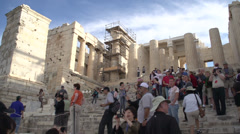 Tourists at Acropolis, crowding the steps Stock Footage