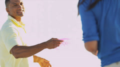 Happy African American Couple Fun Beach Games - stock footage