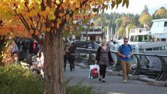 People walking in the fall 01 Stock Footage