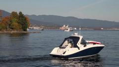 Boat on water with mountain background Stock Footage