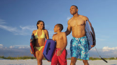Ethnic Parents Young Son Beach Sport Lifestyle - stock footage