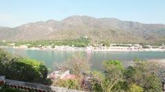 Pan shot of Ganges River Stock Footage