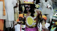 Locked-on shot of people performing traditional tribe dance at Pushkar Fair Stock Footage