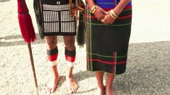 Naga tribes couple in traditional outfit during Hornbill Festival Stock Footage