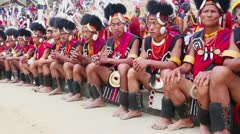 Locked-on shot of Naga tribesmen in traditional outfit during Hornbill Festival Stock Footage