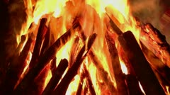 Tilt up shot of bonfire in Hornbill Festival - stock footage