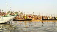 Stock Video Footage of Pan shot boats in a river during Kumbh Mela