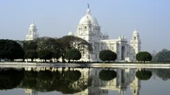 Locked-on shot of the Victoria Memorial Stock Footage