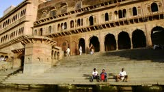 Tracking shot of Kesi Ghat on the Yamuna River - stock footage