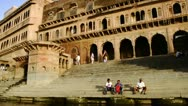 Tracking shot of Kesi Ghat on the Yamuna River Stock Footage